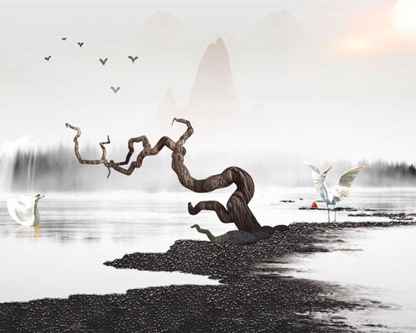 风景绘画仙鹤PSD素材