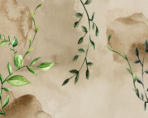绿叶绘画背景PSD素材