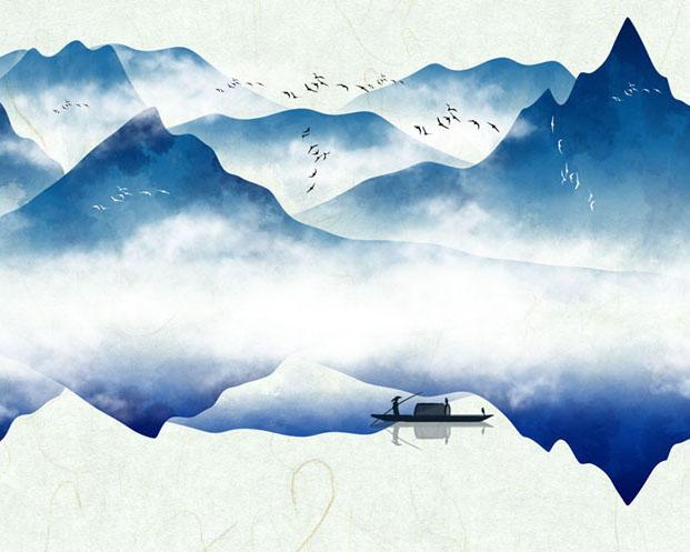 山水景观绘画PSD素材