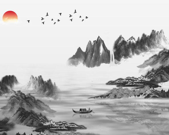 湖泊山水绘画psd素材