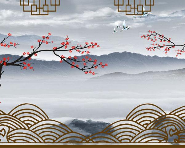 风景与花朵绘画PSD素材