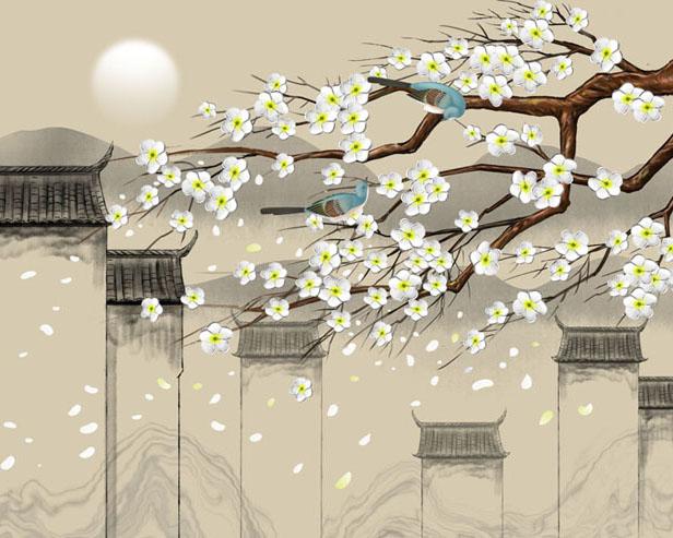 中国古代房屋绘画PSD素材