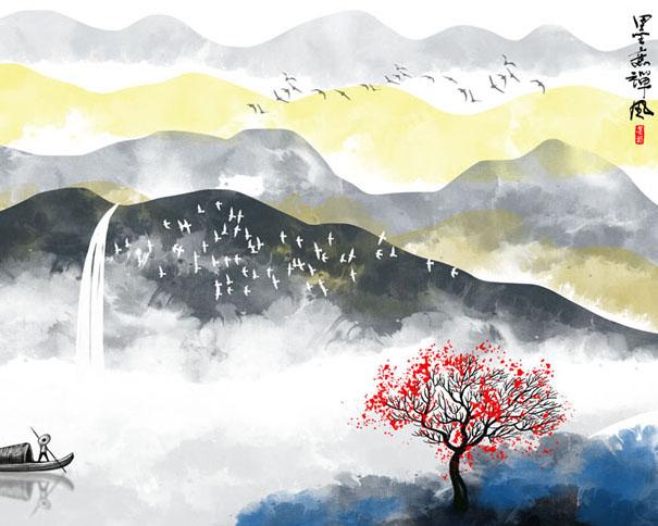 美丽山水风景画PSD素材