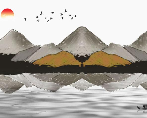 绘画山峰景观PSD素材