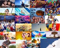 娱乐园开心家庭人物摄影高清图片