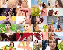 吃葡萄的美女摄影高清图片