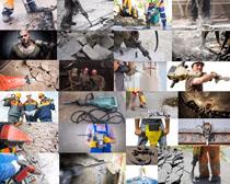 电钻与工人摄影高清图片