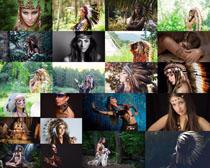 印第安女子打扮攝影高清圖片