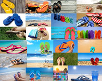 沙灘上的拖鞋攝影高清圖片