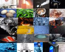 煮锅里面的食物摄影高清图片