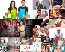 卖猪肉人物摄影高清图片