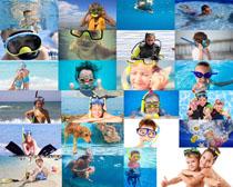 潜水的儿童摄影高清图片