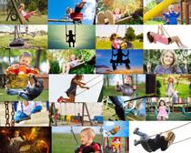 荡秋千的儿童摄影高清图片