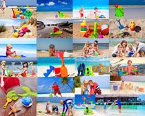 沙滩玩耍的小孩摄影高清图片