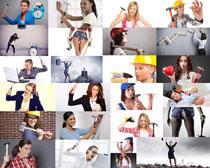 手拿锤子的职业女性摄影高清图片