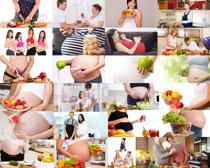 孕妇与水果蔬菜摄影高清图片