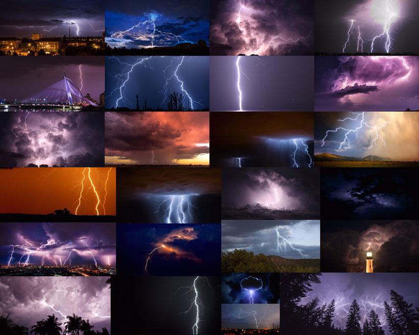 黑夜天空闪电摄影高清图片