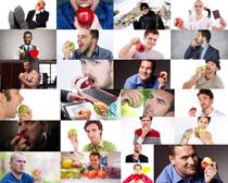 吃饭苹果的男人摄影高清图片