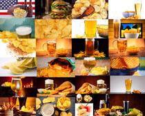 薯片与啤酒摄影高清图片