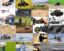 模型飞机与赛车摄影高清图片