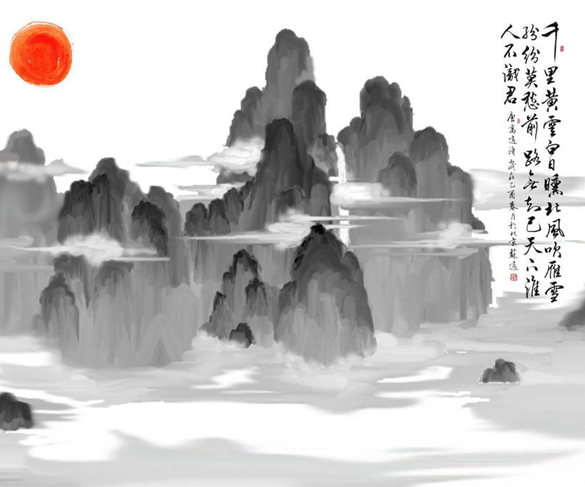 山峰水墨绘画PSD素材