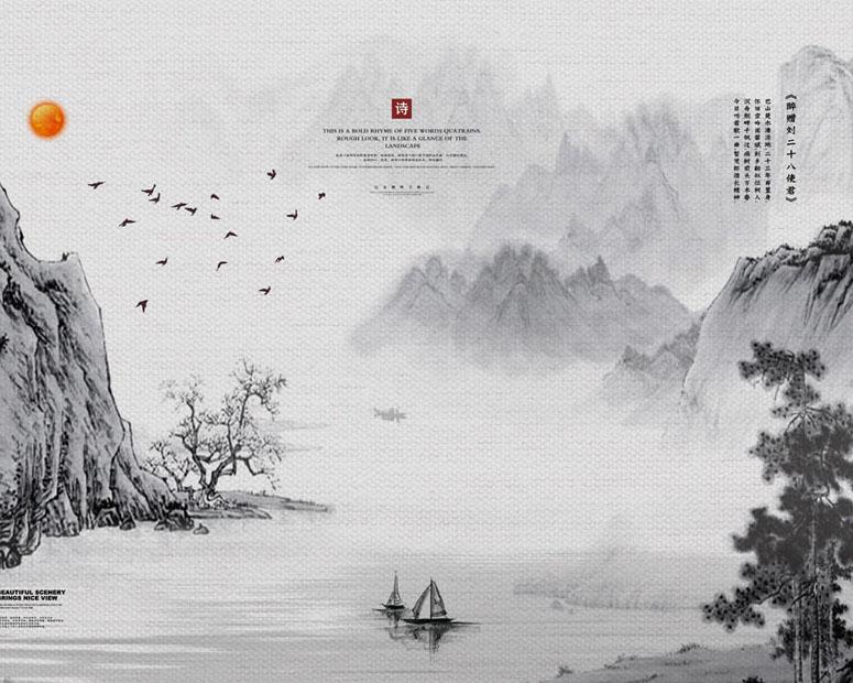 中国风工笔风景画PSD素材