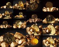 比特币金子摄影高清图片