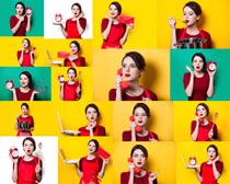 展示物品的美女摄影高清图片