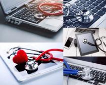 笔记本与听诊器摄影高清图片