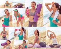 沙滩运动女子摄影高清图片