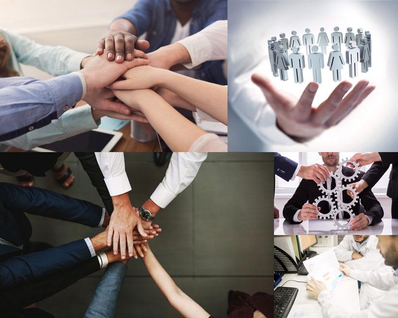 團結的商務人士雙手攝影高清圖片