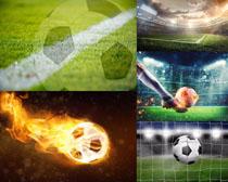 足球與草地拍攝高清圖片