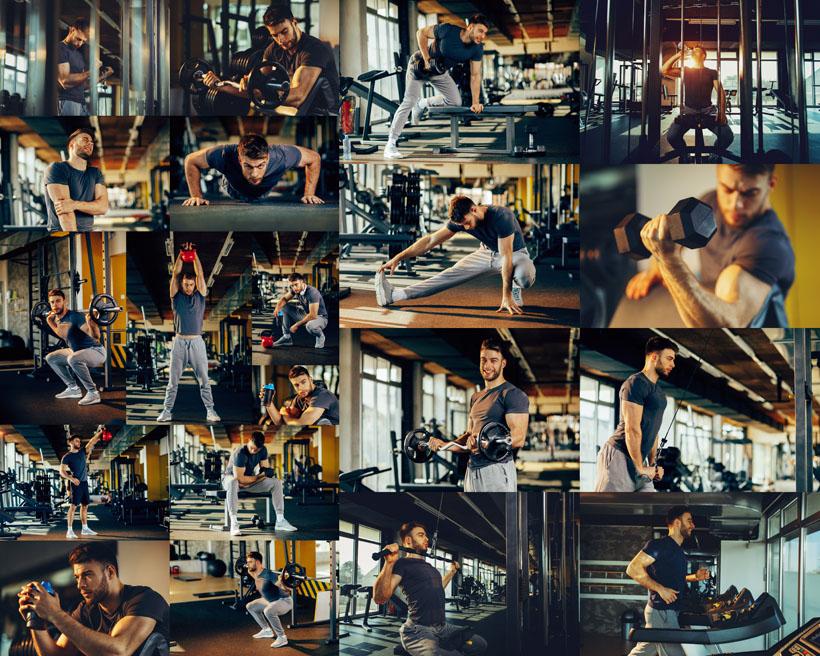 健身房欧美男子摄影高清图片