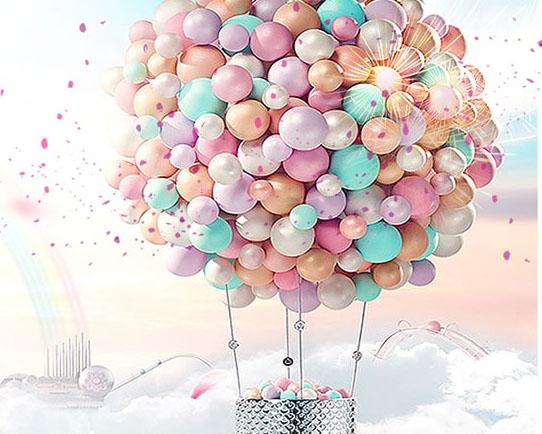 梦幻气球背景PSD素材