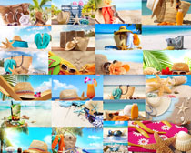 拖鞋帽子沙灘生活攝影高清圖片