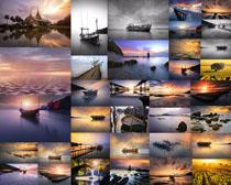 夕阳景观渔船摄影高清图片