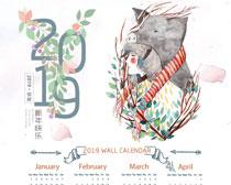 2019猪年日历设计PSD素材