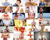 国外男人与食物摄影高清图片