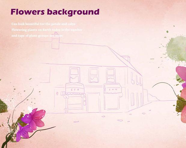 背景与水墨花朵PSD素材