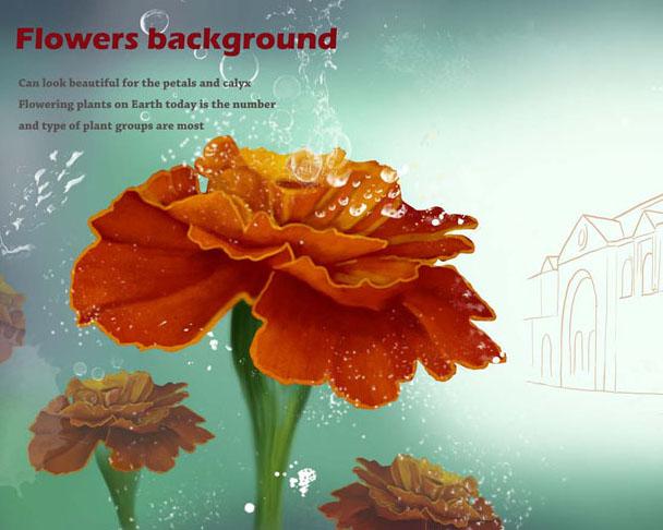 美丽花朵背景PSD素材
