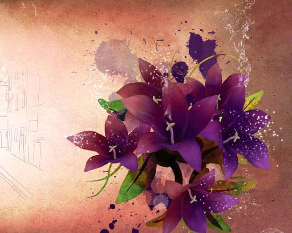 城市画与花朵PSD素材