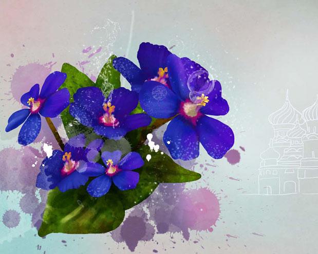 水墨绘画花朵PSD素材