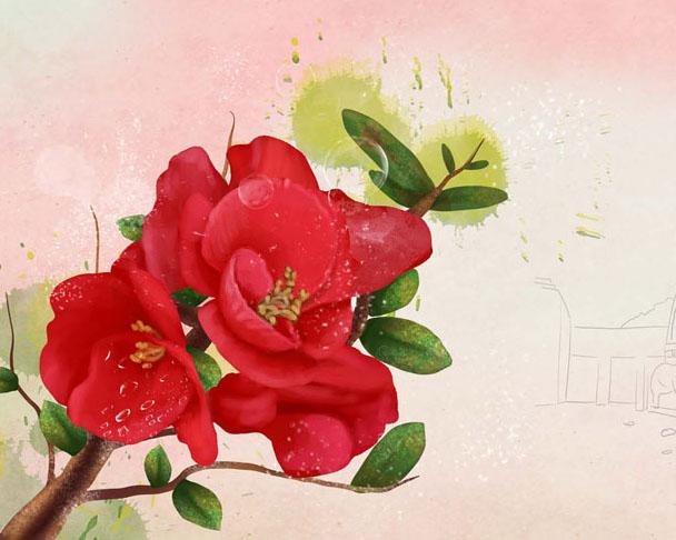 红色装饰花朵背景PSD素材