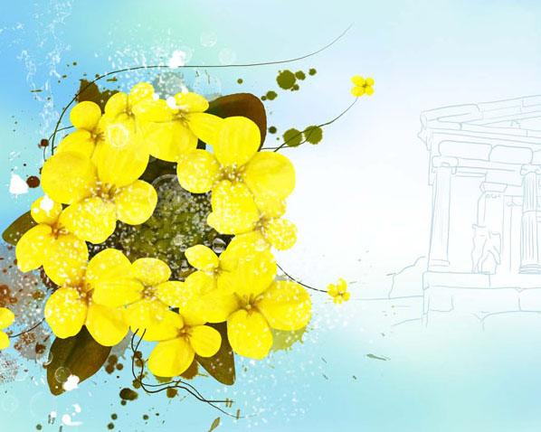 黄色封面花朵PSD素材