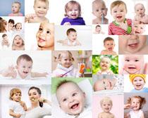 刷牙的可爱宝宝摄影高清图片