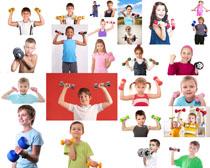 哑铃与儿童摄影高清图片