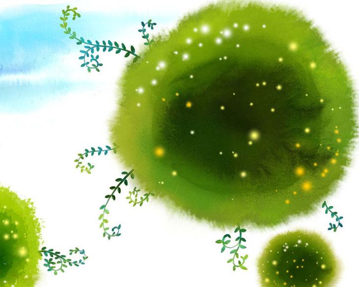 绿色水墨叶子PSD素材