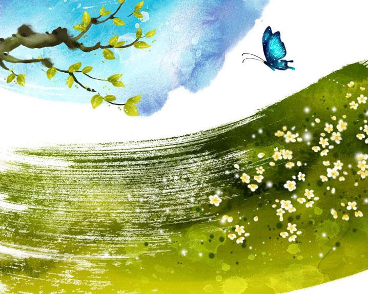 树叶蝴蝶水墨画PSD素材