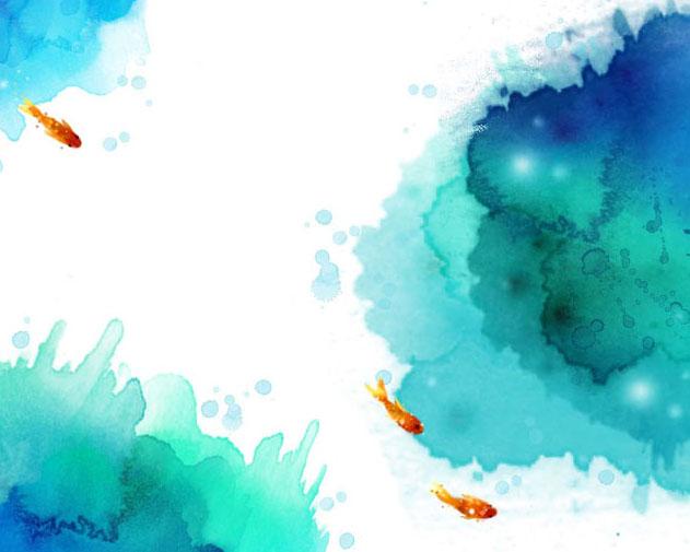 金鱼与水墨背景PSD素材