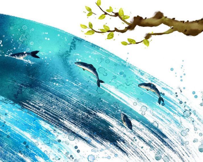 鱼树叶绘画PSD素材